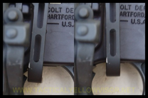 BAD - Note the broader range of motion, especially towards the front of the gun (left, in the picture)