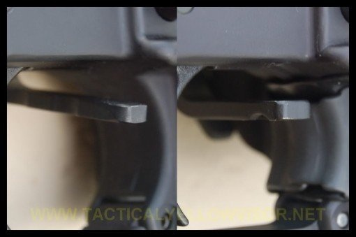 EBR on left, BAD on right.  The downward angle of the EBR can be seen here.  Shows how the EBR can bind if installed too high on the paddle.