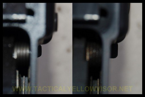 EBR on left, BAD on right.  Relative amount of projection of both levers can be seen looking down from the top.