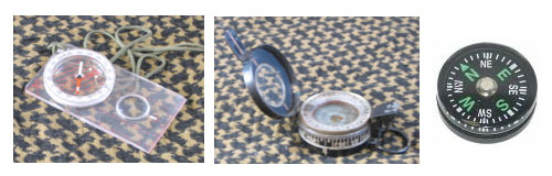 From L to R: Orienteering, Lensatic and Button Compasses