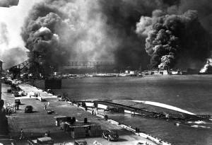 Burning Ships in Pearl Harbor Dry-docks, 7 December 1941