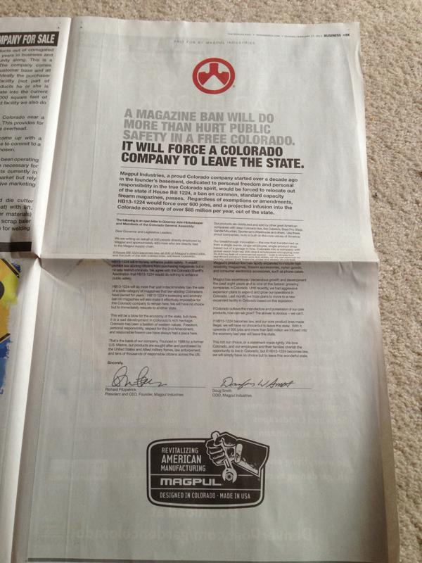 Magpul takes out a full page ad in the Sunday Denver Post taking our case directly to the electorate.