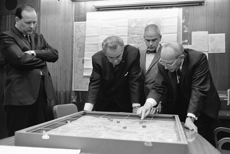 President Lyndon B. Johnson in the Situation Room