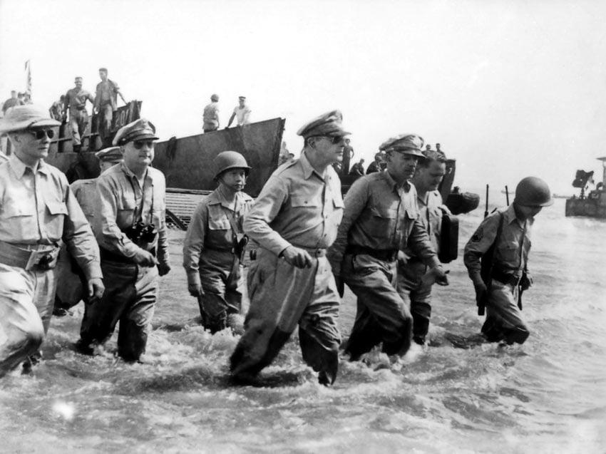 General MacArthur wades ashore