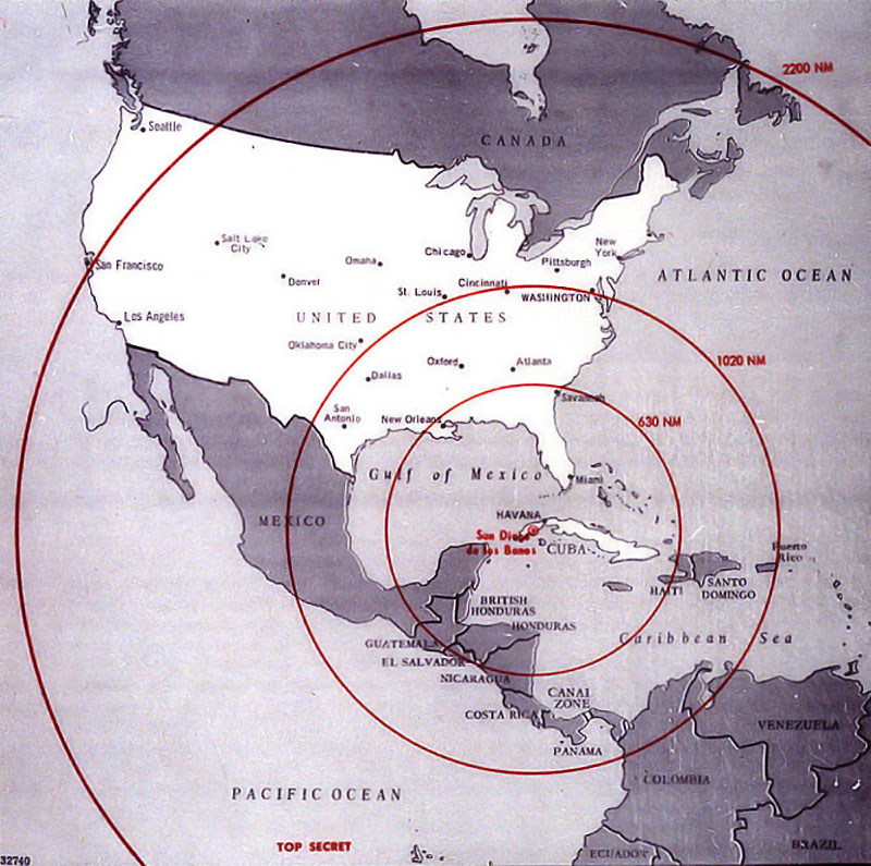 Cuba Missile Range Map