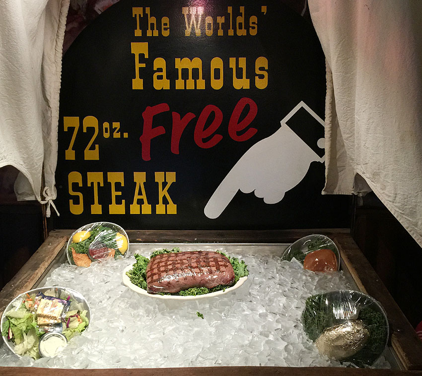 Words' Famous 72 oz Free Steak