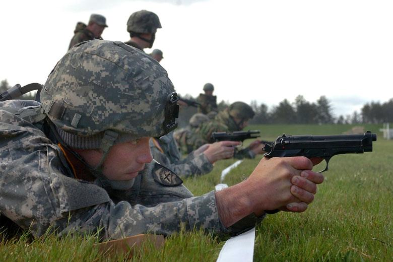 Soldier Shooting Pistol Prone