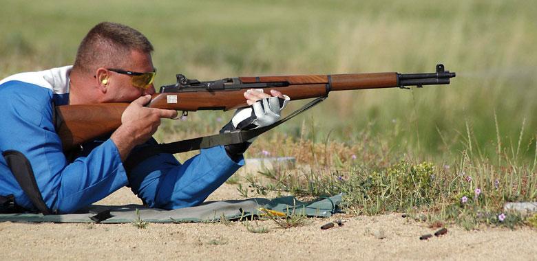 Firing M1 Garand Prone