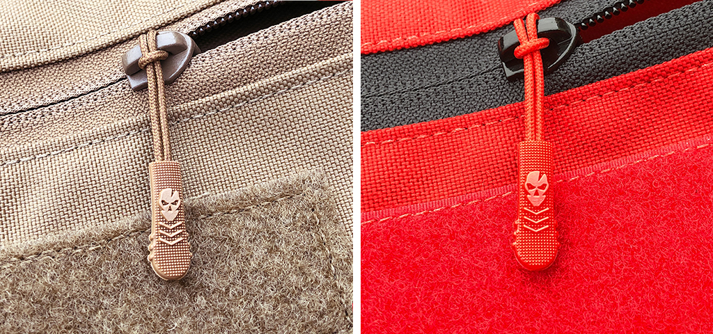 Red and Coyote Zipper Pulls